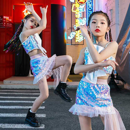 Wholesale jazz dancing for sale - Group buy Girl s Sequined Jazz Costumes Shiny Tops Skirt Hip Hop Kids Jazz Dance Crop Top Children Model Stage Costume Fashion Wear BL4417