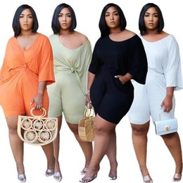Wholesale plus size women sports wear resale online – Plus Size Women Two Pieces Outfits Solid Color Loose Tops Shorts Sets Tracksuit Street Wear Fashion Sport Suit Summer Clothes L XL LY729