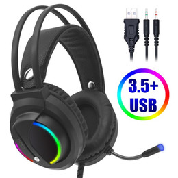 7.1 computers UK - Cosbary Wired Headphones 3.5 mm Gaming Headset Earphone 7.1 Sound Surround RGB Light for Computer Gamer PS4 with Microphone