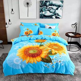 cooling sheets UK - 100 cotton Cool egyptian 4 Pcs Beautiful 3D Flower Sunflower Blue Bedding Sets Queen Full Goose Duvet Cover Flat sheet And PillowCases