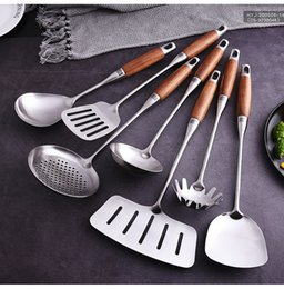 wooden handle spatula UK - Spoon Shovel Kitchenware Set Spatula Kitchen Household Shovel Wooden Handle Cooking Stainless Steel Kitchen tools Set