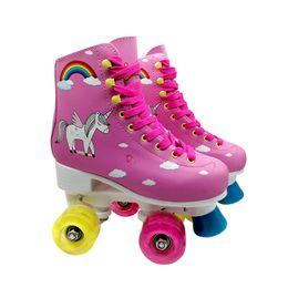 Опт Коньки Дети 4 колеса водить баланс Двойной Роликовые коньки Розовый Горячие продажи нового высокого качества безопасности Начинающий Девочка Коньки
