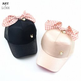 girls big hips Australia - New Summer Baby Hat Spring Girls Hats Kids Baseball Cap Big Bowknot Mesh Sun Visor Hip Hop Hats Casual Caps For Children HaFB#