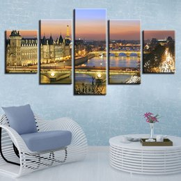 paintings bridges UK - Decor Modern Home Room HD Prints 5 Pieces Bridge Building Night Scene Painting Wall Art Canvas Pictures Framework Poster Modular