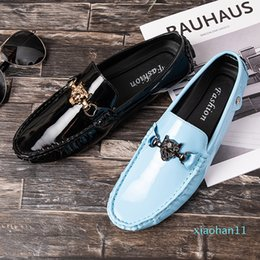 comfy casual shoes mens UK - Hot Sale- Patent Leather Mens Loafers Comfy Flats Men's Casual Driving Shoes Slip On Boat Shoes For Men Moccasins Chaussure Homme