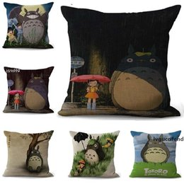 ethnic cushions covers Australia - Cartoon totoro Pillowcase Bohemian bed animal Pillowcover Cotton Linen Ethnic car Pillow Cover Bedroom sofa Throw Cushion Pillow case 100g