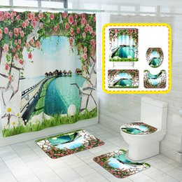 shower curtain diy Canada - For Summer Style Printing Toilet Mat Four-Piece Beach Marine Waterproof Shower Curtain DIY Pattern