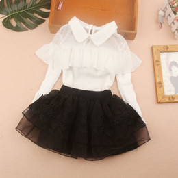 Wholesale white blouse girl long sleeve online – 2020 Autumn Girl Blouses White Chiffon Lace Top Baby Girl Long Sleeve Shirts Ruffle Pullover Blouse Clothes for Teenage Girls Y CX200720