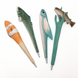 3d pen tool Canada - Multiple Shapes 3D Animals Fish Hand-carved Creative Wood Carved Ballpoint Pen Writing Tool Stationery School Student Gifts Free Shipping