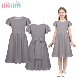 layered pageant dresses NZ - iiniim Kids Girls Formal Dress Layered Pleated Flower Girl Dress Princess Pageant Wedding Bridesmaid Birthday Party Dress T200709