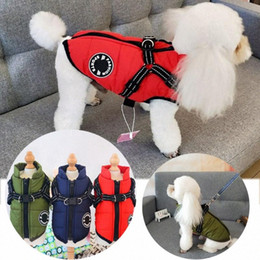 wholesale ski suits NZ - 1PC Durable Cotton Blend Padded Dog Coat Vest Waterproof Winter Warmer Jacket Sleeveless Ski Suit Puppy Harness Pet Clothes scyd#