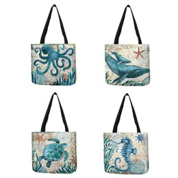sea bags tote Canada - Latest Style Tote Bag Women Men Octopus Whale Sea Animal Linen Eco-friendly Practical Large Capacity Shoulder Bags Shopping
