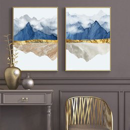 contemporary figure paintings NZ - Modern Mountain Reflection Marble Abstract Wall Poster Landscape Canvas Print Painting Contemporary Art Home Decoration Picture