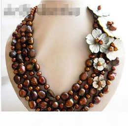 coffee pearl Australia - 4Strands 19'' 12mm Coffee Baroque Shell Flower Freshwater Pearl Necklace
