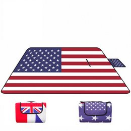 folding picnic mats NZ - United Kingdom USA Flag Carpet Waterproof Aluminum film Camping Mat Foldable Folding Sleeping Picnic Beach Outdoor Mat Pad 150*200cm