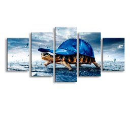 cheap wall canvas prints Canada - 5 Panel Sea turtles Painting Canvas Wall Art Picture Home Decoration Living Room Canvas Print Modern Painting--Large Canvas Art Cheap SD-009