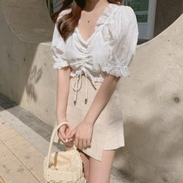 girl mini skirt sleeveless top Australia - Embroidery Shirt Summer White Blouses Women Tops Skirt Women short sleeve Girls Blouse Linen Cotton mini pants skirt Plus Size QA5p#