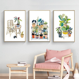 painting pots NZ - Poster Cartoon Green Potted Plant Canvas Painting Plant Picture Home Wall Art For Children's Bedroom Modern Home Decoration
