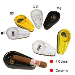 Ashtrays Single Cigar Holder Round Ash Slot Ceramic Ashtray 3 Colors Tobacco Ash For Smoking DHB346 on Sale