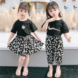 western fashion shirts UK - Girl short-sleeved wear wear Korean style baby Children's T-shirt children's clothing girl's western style Daisy T-shirt thin swing