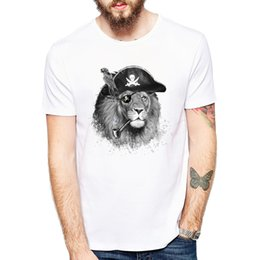hipster painting Australia - Popular Hand-Painted Style Camisa The Pirate Lion King T-Shirt Men's Letters Animal T Shirt Gift Hipster Male Graphic