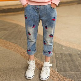 girls new jeans embroidery Canada - New 2020 Toddler Kid Baby Girl Clothes Denim Jeans Pant Cherry Embroidery Trouser Bottoms