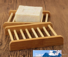 natural bamboo soap UK - Bamboo Soap Holder Wooden Natural Bamboo Soap Dish Storage Soap Rack Plate Box Container for Bath Shower Plate Bathroom