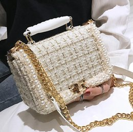 pearl ladies handbag UK - 2019 Winter Fashion New Female Square Tote bag Quality Woolen Pearl Women's Designer Handbag Ladies Chain Shoulder Crossbody Bag