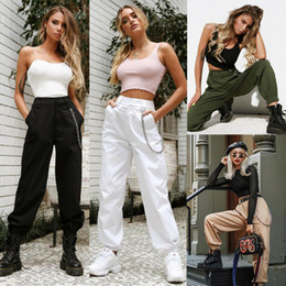 Wholesale casual work pants womens for sale – dress Womens Cargo Harem Autumn Cargo Utility Work Hiking Army Multi Pockets Combat High Waist Casual Ladies Pants Hip