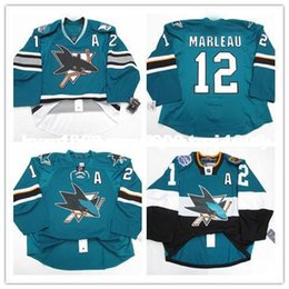 cheap shark UK - Cheap custom PATRICK MARLEAU SAN JOSE SHARKS HOME TEAM ISSUED EDGE 2.0 7287 JERSEY stitch add any number any name Mens Hockey Jersey GOALIE