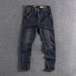 Wholesale deep denim jeans for sale – winter 2 Colors Mens Jeans Deep Color Zipper Jeans Rock Motorcycle Pants Classic Denim Pants Slim Pencil Pants