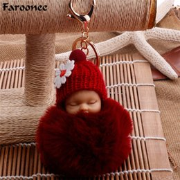 Discount sleeping bag toy Sleeping Baby Doll Keychain Pompom Faux Fur Ball Car Key Ring Baby Toy Women Key Holder Bag Pendant Gifts Chain Trinket