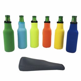 neoprene zipper bag NZ - Beer Bottle Sleeve Neoprene Insulation Bags Holder Zipper Soft Drinks Covers With Stitched Fabric Edges Bareware Tool DHC896