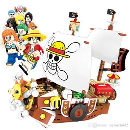 sanji figure one piece UK - One Piece Pivate Ship Thousand Sunny Robber Luffy Nami Zoro Sanji Chopper Franky Robin Brook Usoop Building Blocks Brick Action Figure Toy
