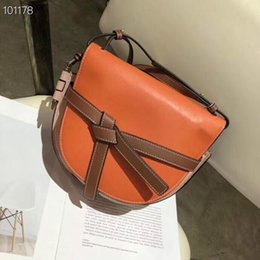shoulders knots Australia - Desinger purse women Shoulder Bags real leather crossbody bag flap knot mixed color bag free ship