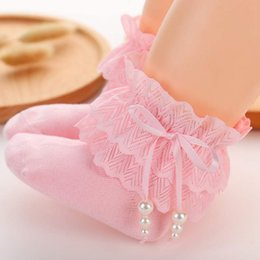 girls bow socks wholesale UK - Sweet Baby Girl Socks Princess Girls Lace Ruffle Socks Retro Frilly Pearl Bow Kids Winter Spring Cotton Sock
