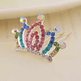 korean girls fashion hair style UK - Rhinestone Crown Hair Comb Children Girls Korean Style Fashion Cute Colorful Inlay Festival Perform Alloy Accessories Hair Comb x6ja#