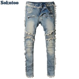 tall plus size pants Canada - Sokotoo Men's vintage washed denim fringe biker jeans for moto Fashion slim fit straight patchwork pants for big and tall
