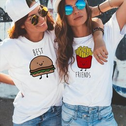 white shirt designs for women UK - Funny Design Best Friend Matching T Shirt Bff T Shirt Women Fast Food Tee Shirt For Femme Tops Tees Hamburger And