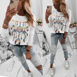types t shirts necks UK - Women T-Shirt Casual Korean O-Neck Sexy White Print Straight Type T-Shirts 2020 Spring Long Sleeve Tops T Shirt Femme