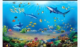 underwater bedroom wallpaper UK - Customized 3D large silk photo mural wallpaper HD giant hundred fish underwater world 3D bedroom TV sofa background wall paper for walls 3d