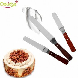 wooden handle spatula UK - Delidge 1 pc 6 8 10 inch Baking Spatulas Stainless Steel Butter Cake Cream Knife Wooden Handle Icing Frosting Spreader ZwGs#