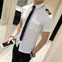 mens black shirt white collar NZ - Flight Attendants Clothing Spring Men Short Sleeve Shirt Summer Slim Fit Casual Mens Shirts 6XL-S Camisa Masculina Black White T200713