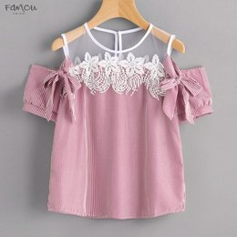 off shoulder t shirt for girls NZ - Us Warehouse Tops High Quality Girl Short Sleeve Off Shoulder Lace Striped Casual T Shirt Summer Lace Tops For Women 2020 Ap27