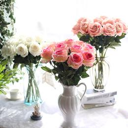10pcs / porción decoración de la boda material de tacto real artificial decoración flores del ramo de Rose partido casero falso seda solo tallo de las flores florales en venta