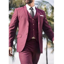 waistcoat trousers Canada - Notch Papel Man Work Business Suit Burgundy Groom Wedding Tuxedos Prom Party Coat Waistcoat Trousers Set (Jacket+Pants+Vest+Tie) J391