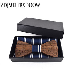 cufflink knots UK - Pocket square Brooch Gravata Tie Hanky Cufflink Sets Wooden bow tie Ties for Mens Business Wedding Zebra Wood Laser Engraving