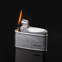 pure cigarettes NZ - Retro Gasoline Flint Lighter Firewheel Trenches Pure Copper Cigarette Petrol Lighter Free Fire Inflated Metal Kerosene Cigar Gadgets For Men