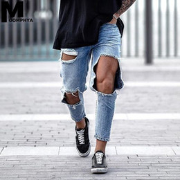 Wholesale big men ripped jeans resale online - Moomphya New Distressed Big Holes Skinny Jeans Men Streetwear Hip Hop Mens Ripped Jeans Denim Pants Stylish Men Blue
