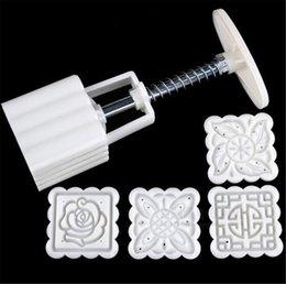 moon mold UK - New (Kitchen, Dining & Bar 4 Patterns Square Moon cake Fondant Sugarcraft Decorating Cookies Mold Mould Baking Tool Set